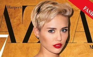 Shocking: Miley braaf op cover Harper's Bazaar
