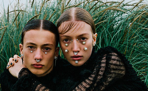 Editorial: Arty facial jewelry in Vogue Ukraine