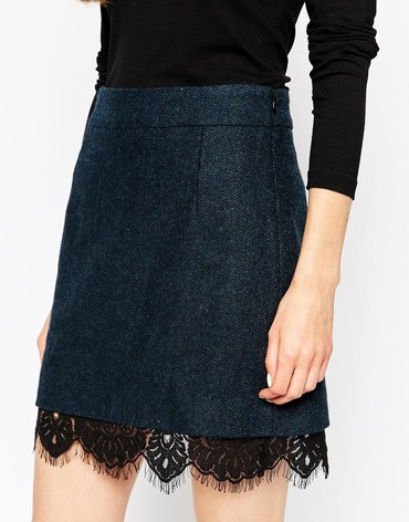 Premium Tweed Skirt with Lace Hem Detail