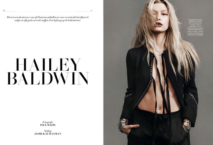 Nederlandse L'Officiel strikt Hailey Baldwin voor shoot