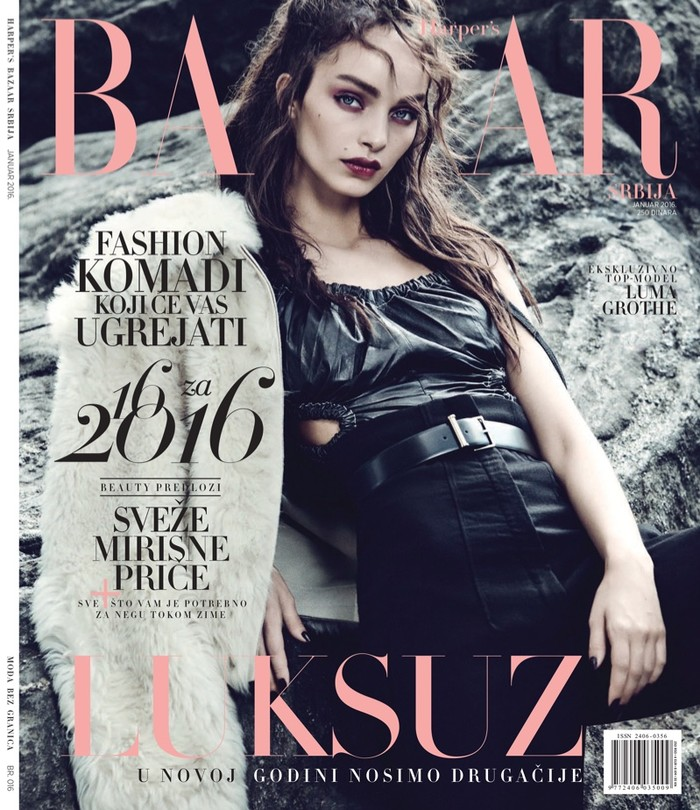 Luma Grothe in rock-chic editorial Harper's Bazaar