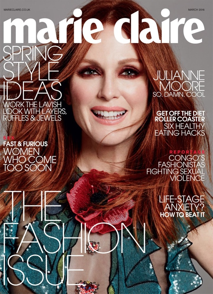 Julianne Moore stralend in Marie Claire UK