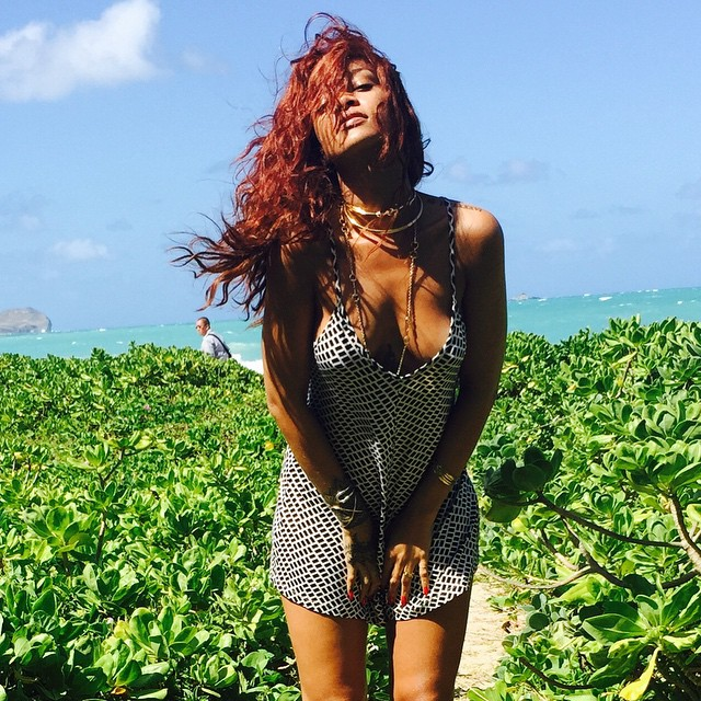 Holiday style: Rihanna op Hawaii