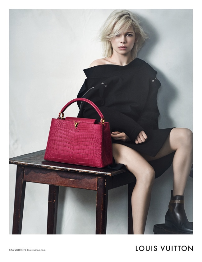 Michelle Williams in de tassencampagne van Louis Vuitton