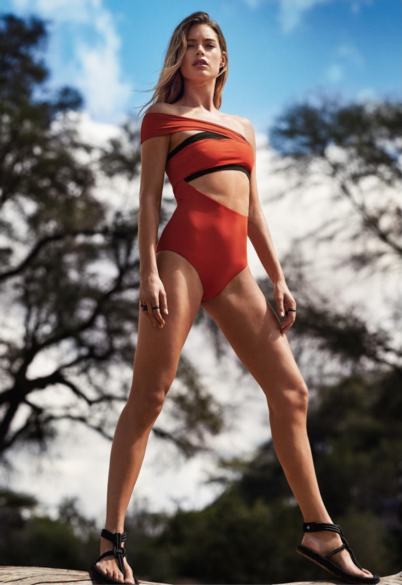 Top model Doutzen Kroes is serving pure bombshell in the July 2016 issue of Glamour Magazine. Photographed by Nathaniel Goldberg and styled by Jillian Davison, the Dutch model wears a mix of bodysuits and swimwear in the on location shots featuring the designs of Michael Kors Collection, Hermes and Isabel Marant amongst others. For beauty, Doutzen wears her hair in messy waves with a sun-kissed glow courtesy of hairstylist Rita Marmor and makeup artist Stevie Huynh.